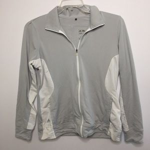 Adidas Full Zip Activewear Sweatshirt Gray White